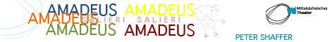Banner für Aufführung des Mittelsächsischen Theaters März Premiere Amadeus